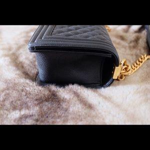 CHANEL Bags - CHANEL Le Boy Black Caviar Gold Hardware